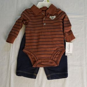 CARTER'S Long sleeve collar 2 piece outfit NWT 3M